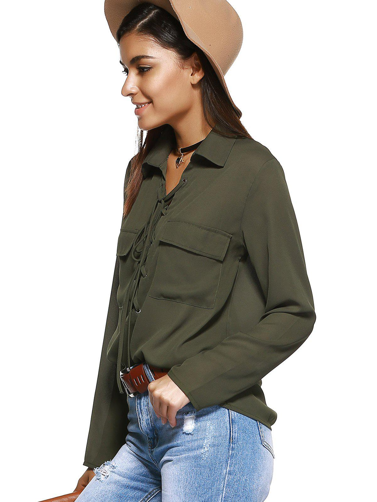 Front Pocket Lace-Up Long Sleeve Shirt - ARMY GREEN XL