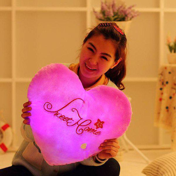 Stylish Heart Shape Valentine's Day Gift Luminous Letters Embellished Pillow - LIGHT PURPLE