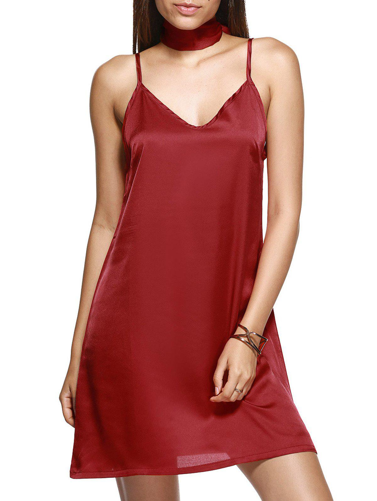 V Neck Mini Cami Slip Satin Dress - WINE RED L