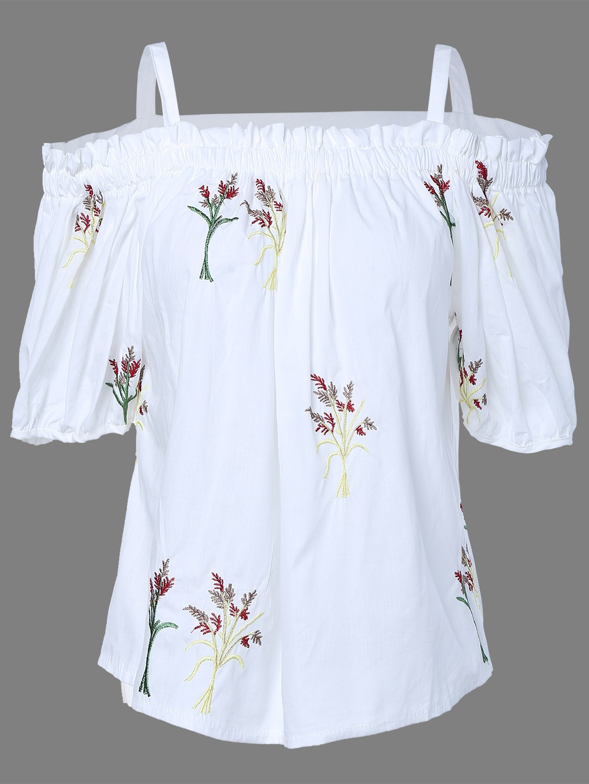 Sweet Cold Shoulder Floral Embroidered Blouse For Women - WHITE ONE SIZE(FIT SIZE XS TO M)