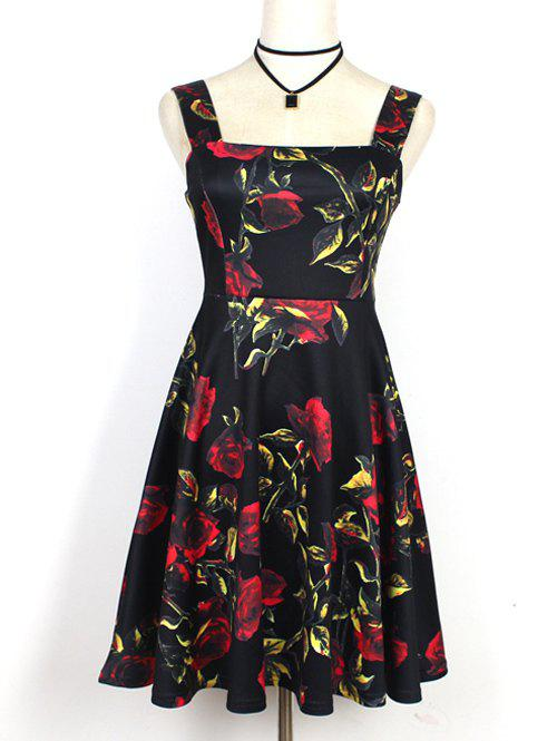 Sweet Women's Strappy Floral Print High Waist Dress - BLACK S