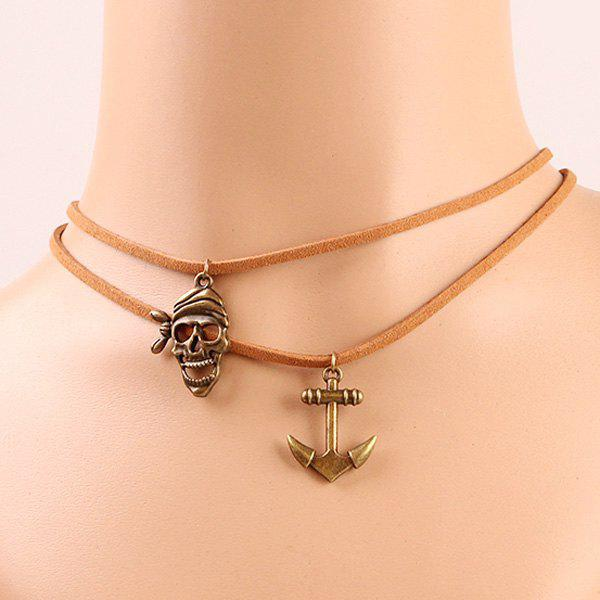 Characteristic Layer  Anchor and Skull Necklace For Women - BROWN