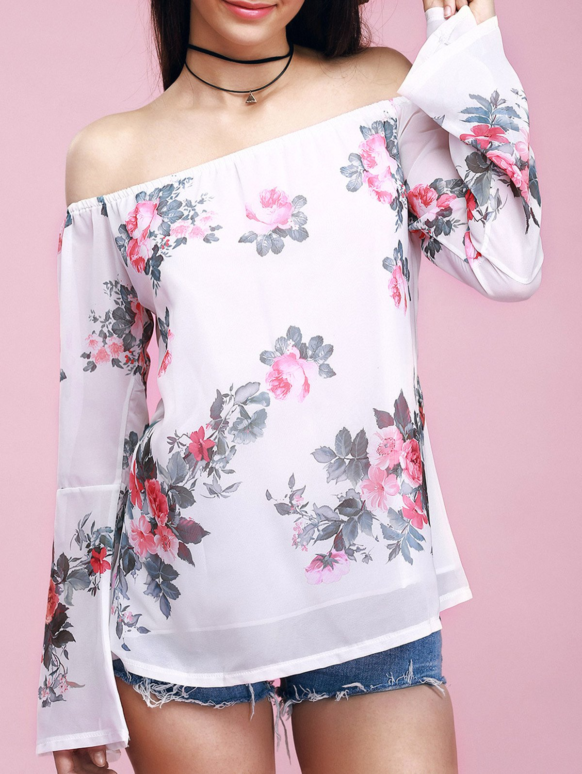 Sweet Off-The-Shoulder Floral Print Chiffon Blouse - WHITE L