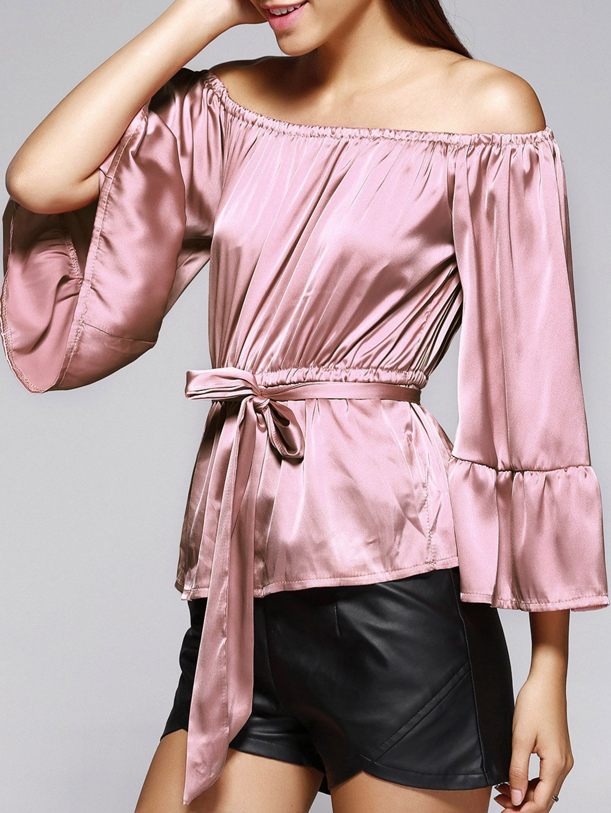 Off The Shoulder Belted Bell Sleeve Pleated Blouse - LIGHT PINK XL