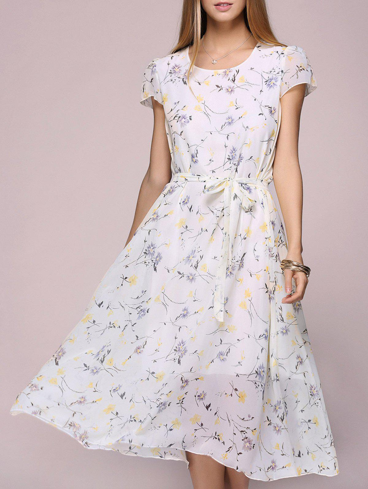 Floral Print Chiffon Tea Length Dress - LIGHT YELLOW ONE SIZE