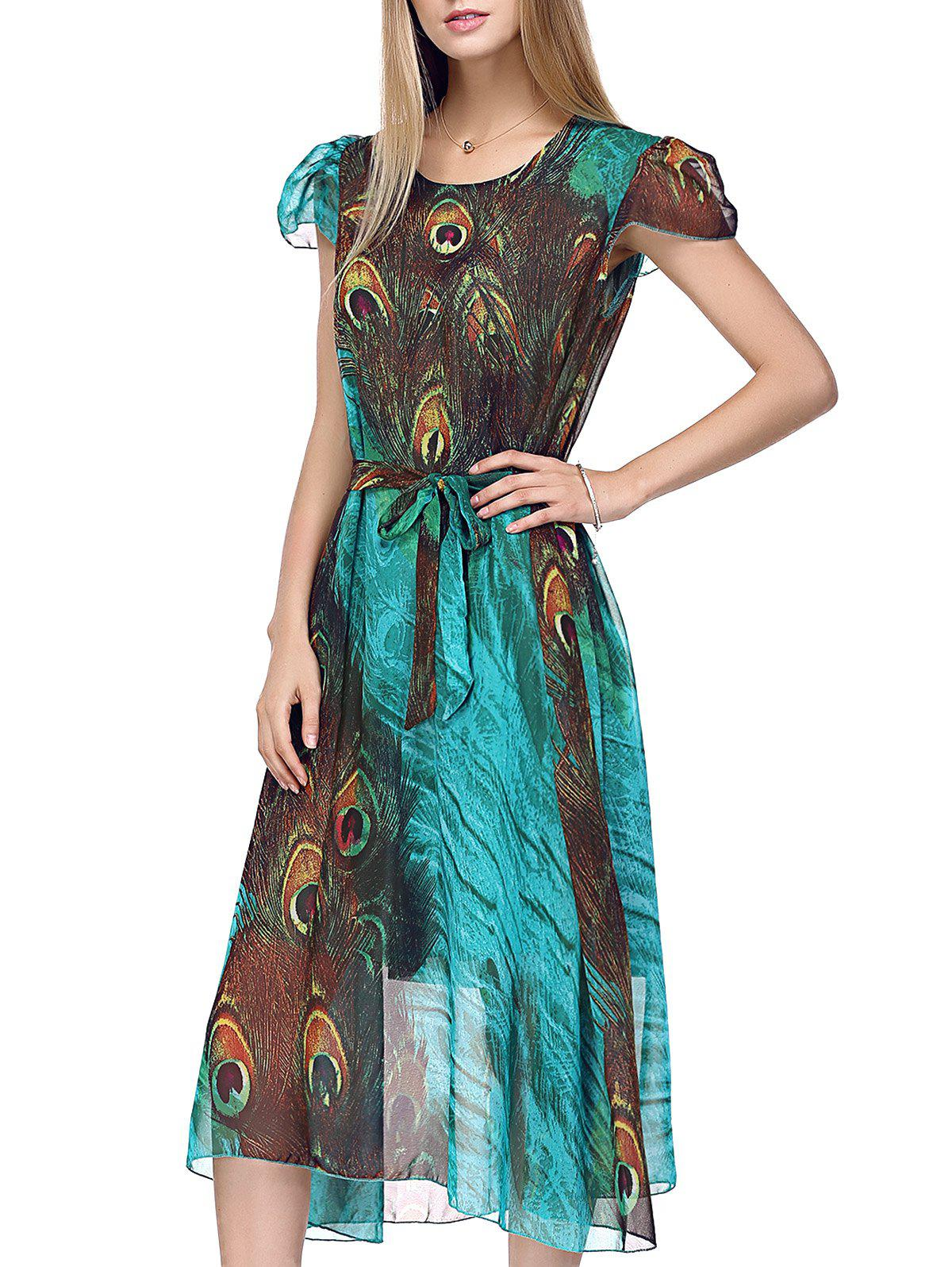Bohemian Peacock Tail Print Women's Midi Dress - GREEN ONE SIZE(FIT SIZE XS TO M)