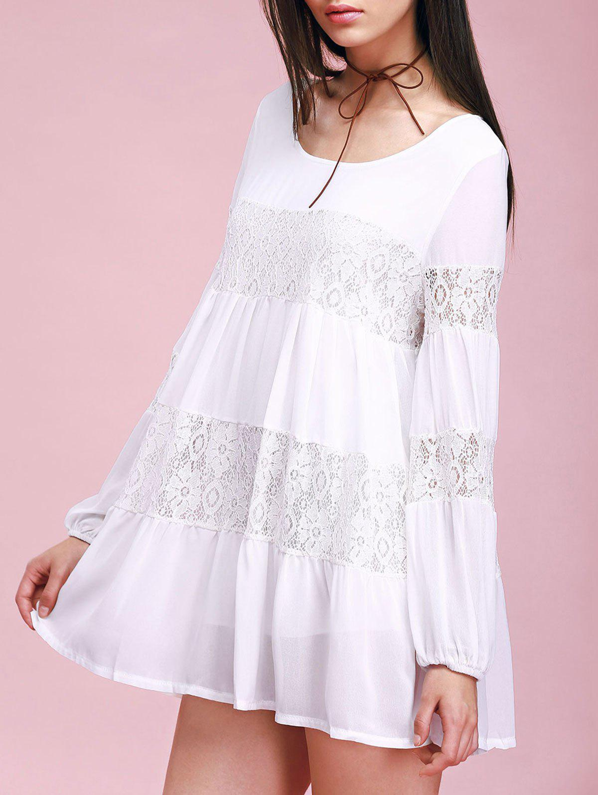Lace Insert Mini Swing Dress - WHITE ONE SIZE(FIT SIZE XS TO M)