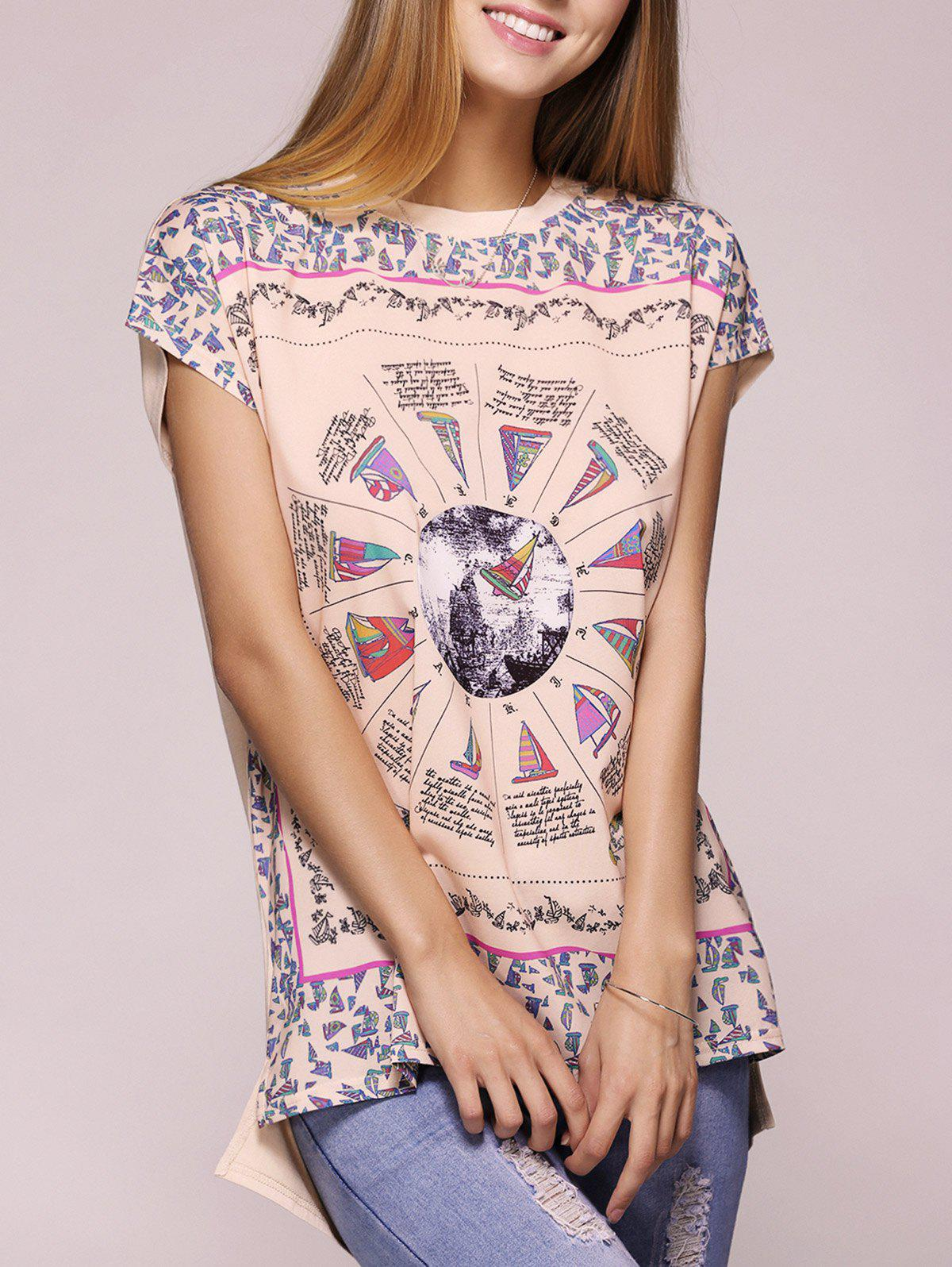 Casual Short Sleeve Round Neck Printed T-Shirt For Women - APRICOT L