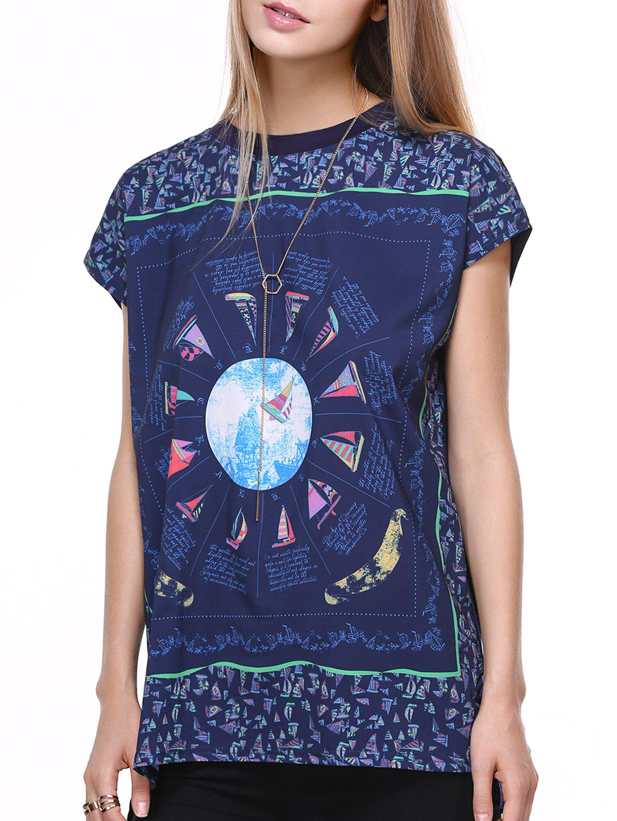 Casual Short Sleeve Round Neck Printed T-Shirt For Women - DEEP BLUE 2XL