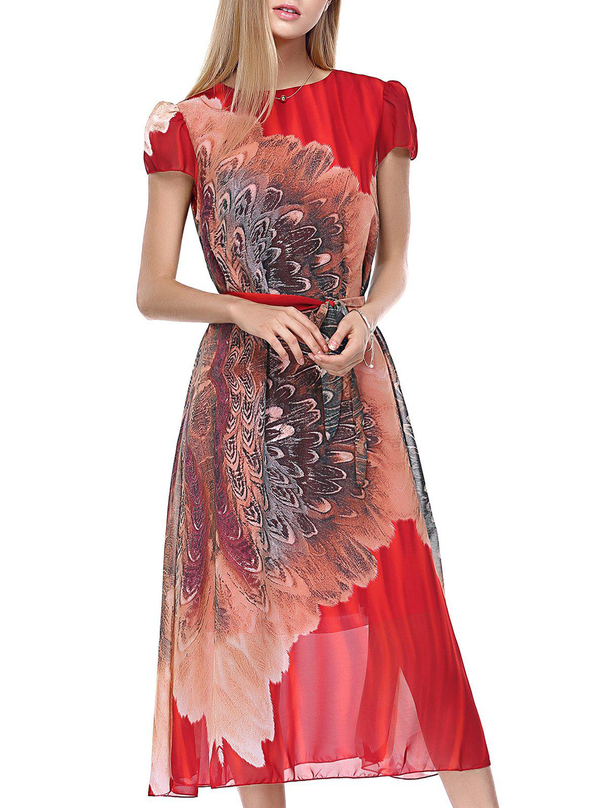 Bohemian Floral Pattern Cap Sleeve Women's Chiffon Dress - RED ONE SIZE(FIT SIZE XS TO M)
