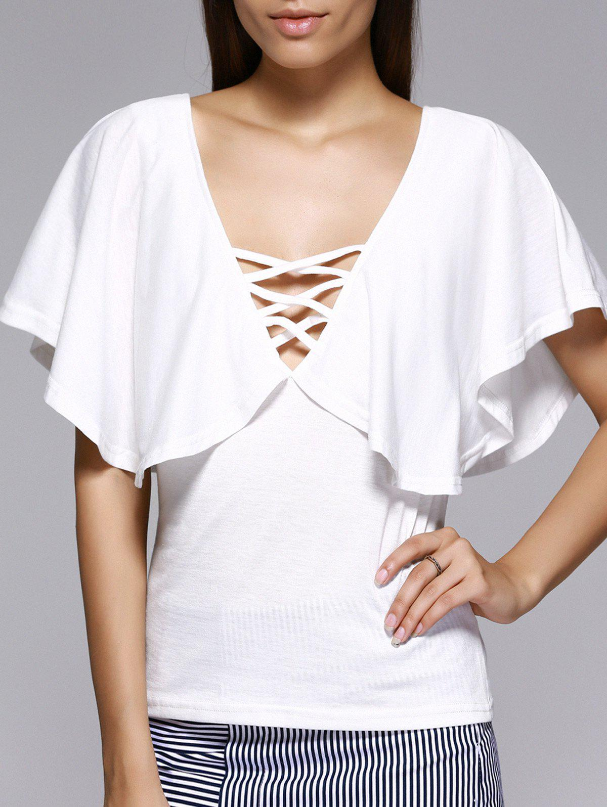 Flounced Lace-Up Plunge Neck Blouse - WHITE L