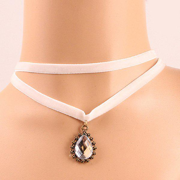 Chic Style  Artificial Gem Embellished Rope Necklace For Women - WHITE