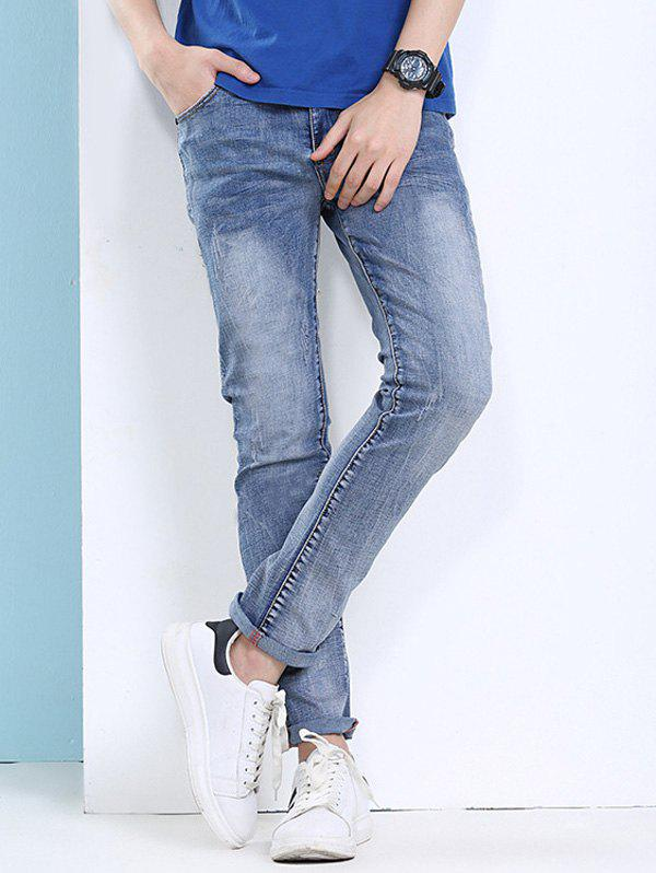 Slimming Narrow Feet Cat's Whisker and Scratch Design Men's Zipper Fly Jeans stylish narrow feet cat s whisker scratch design slimming zipper fly men s ombre jeans
