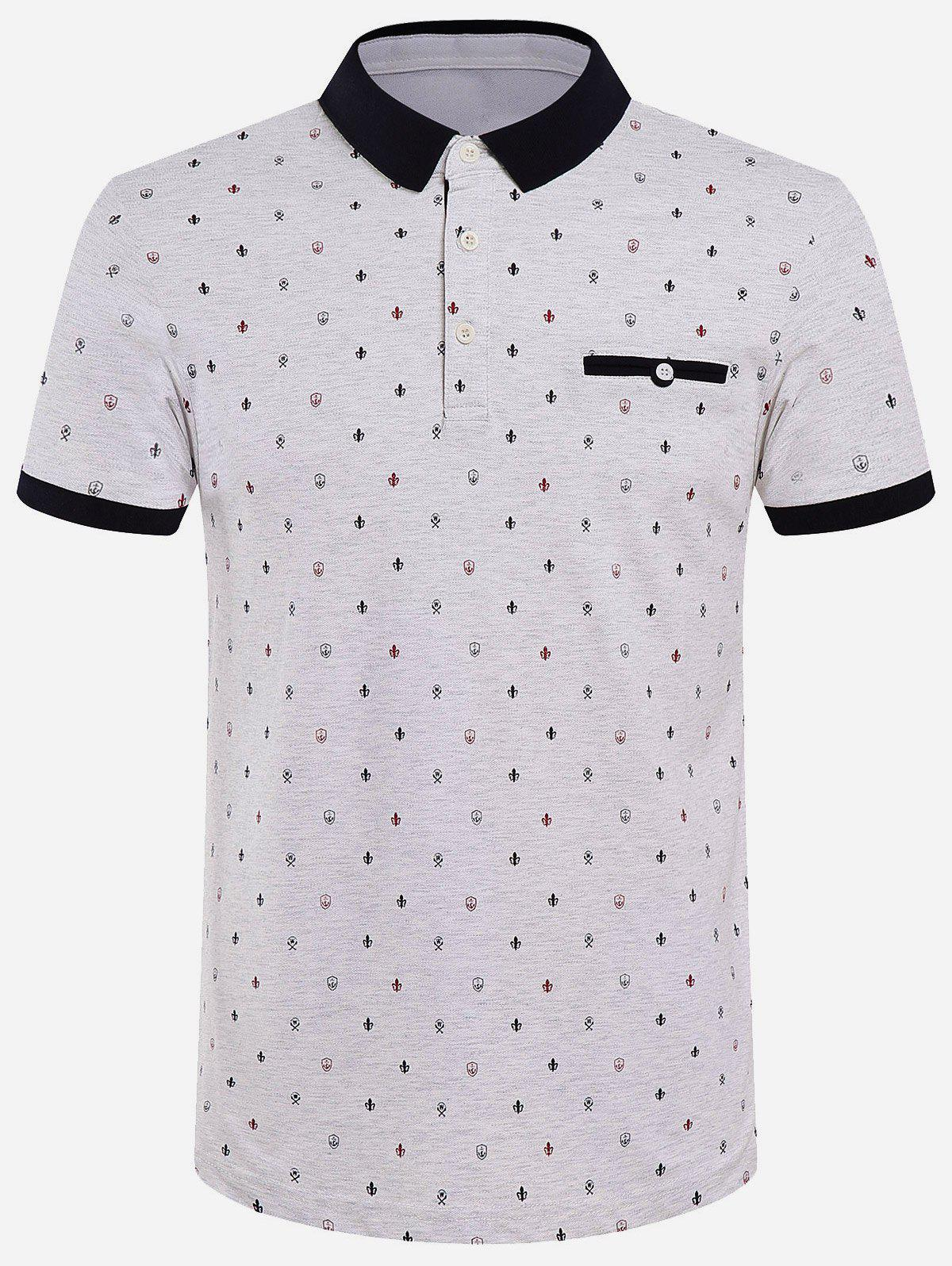 Cotton Blends Color Block Spliced Printed Turn-Down Collar Short Sleeve Polo T-Shirt - GRAY 2XL