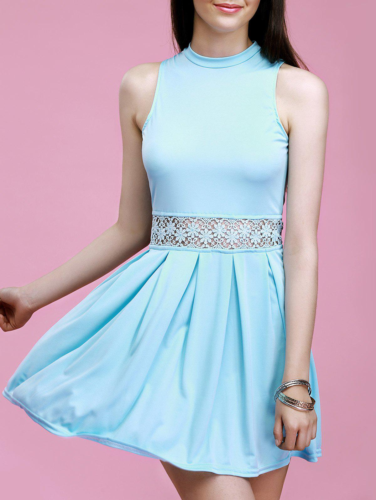 Lace Spliced Hollow Out Solid Color Flare Dress - LIGHT BLUE XL
