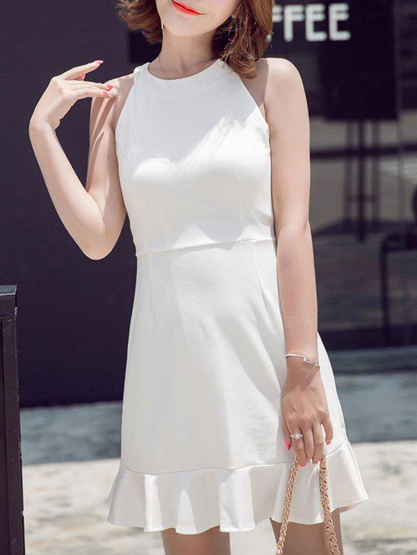 Refreshing Women's Round Neck Pure Color Sleeveless Fishtail Dress - WHITE M