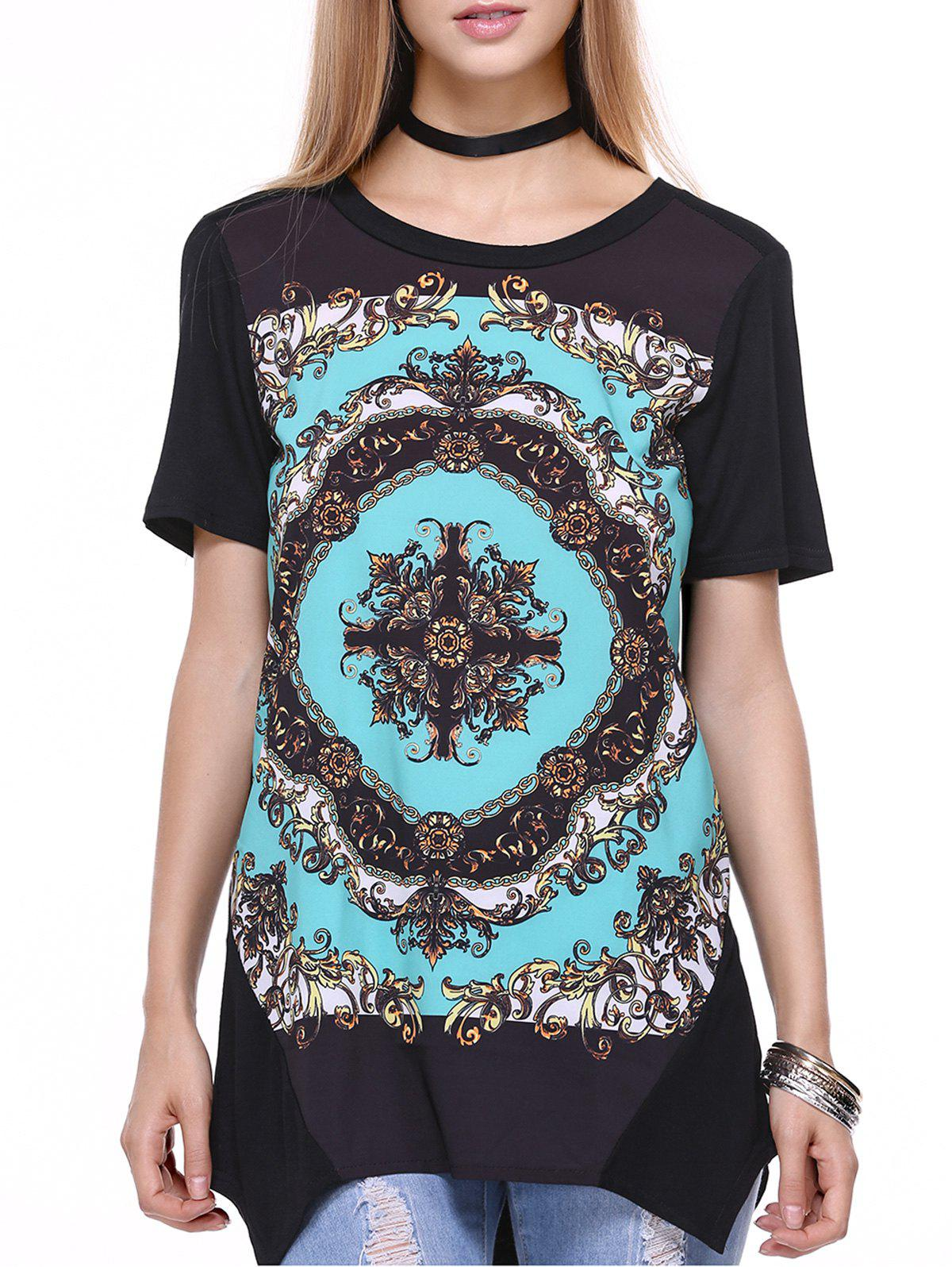 Round Neck Short Sleeve Tribal Print Women's Tee