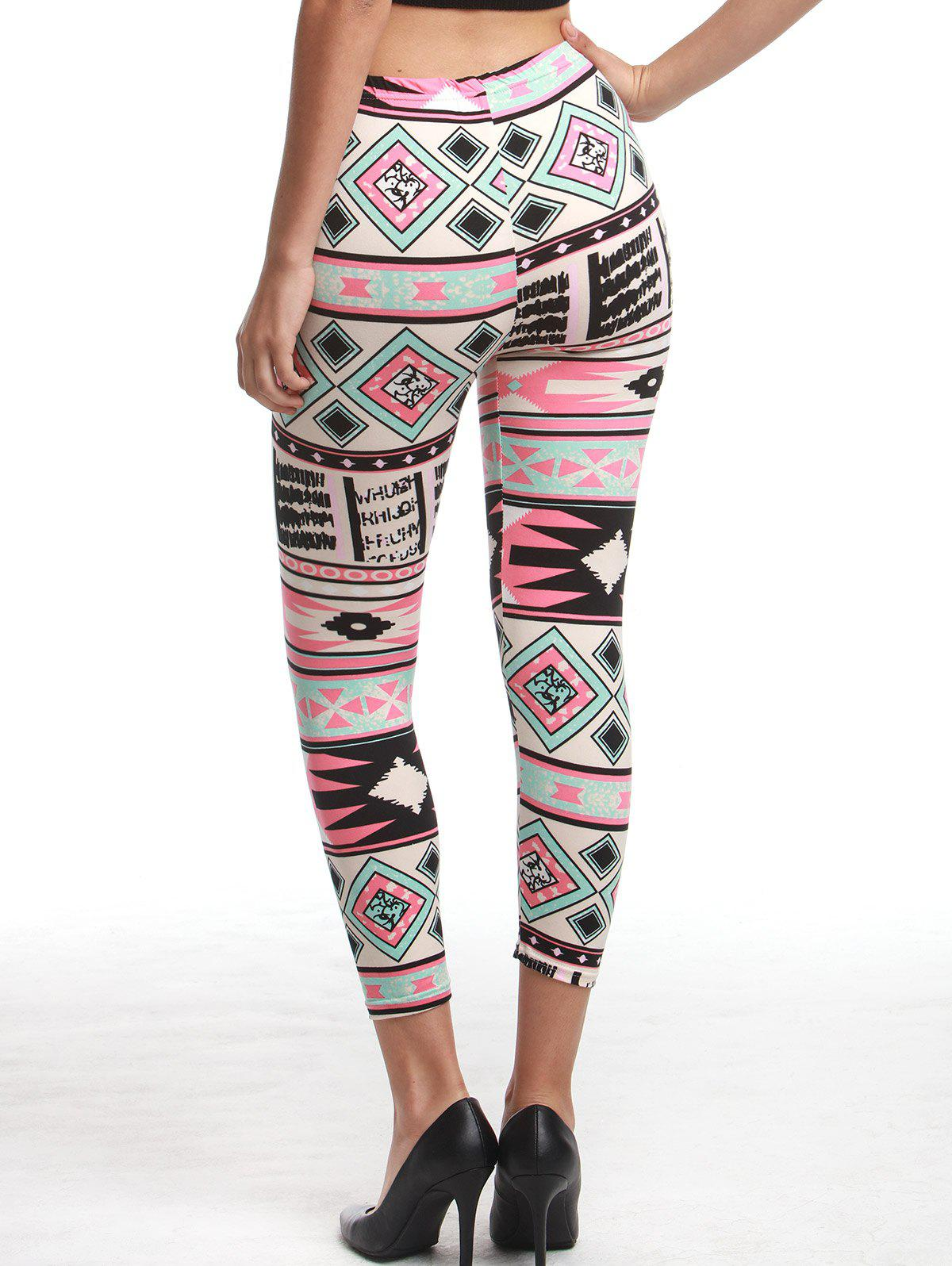 Chic High Waist Geometrical Print Hit Color Leggings For Women - COLORMIX ONE SIZE(FIT SIZE XS TO M)
