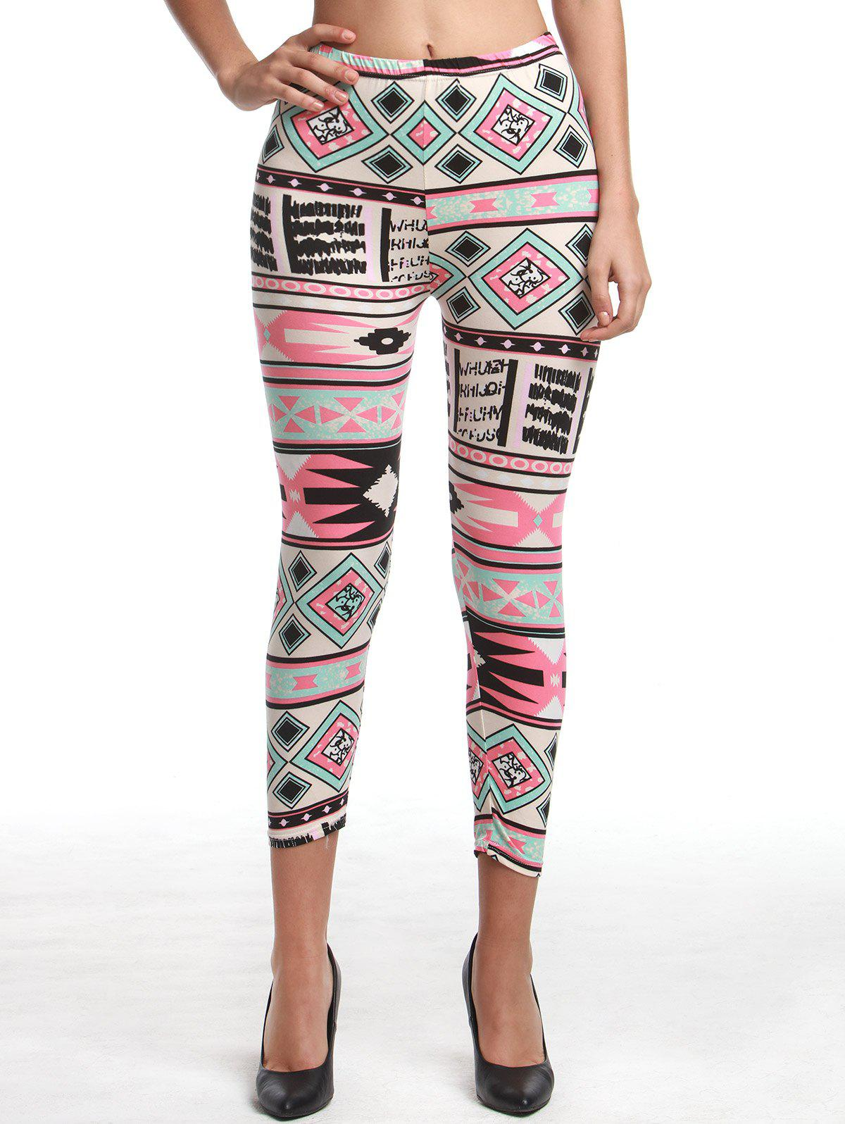 Chic High Waist Geometrical Print Hit Color Leggings For Women babies p 695i