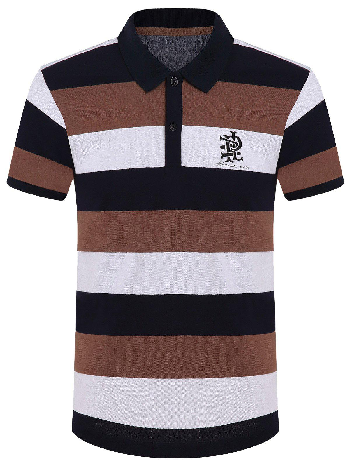 Cotton Blends Color Block Stripe Letter Print Turn-Down Collar Short Sleeve Polo T-Shirt - KHAKI XL