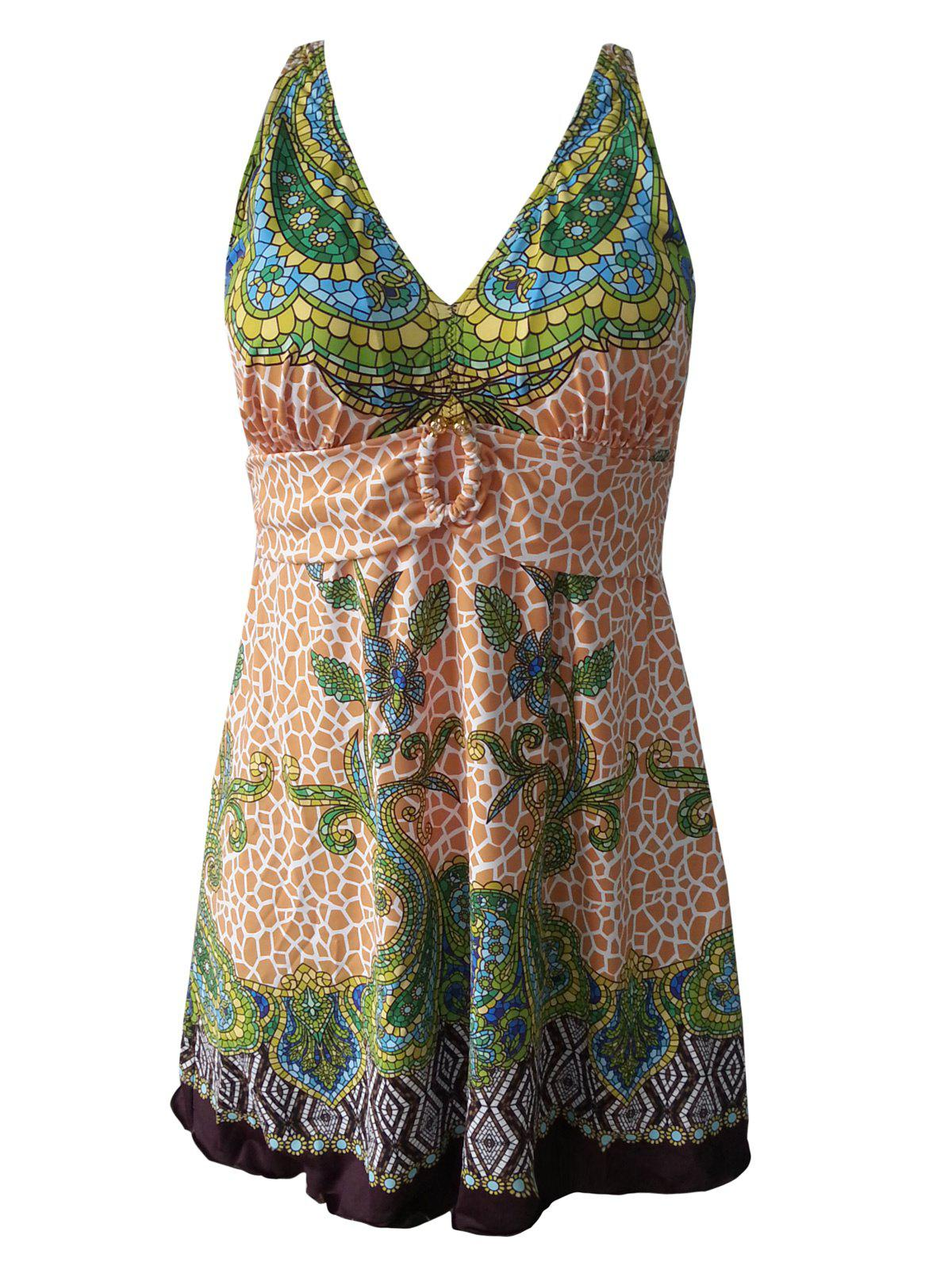 Conservative Plus Size Printed Shirred Women's One-Piece Swimwear - GREEN 2XL