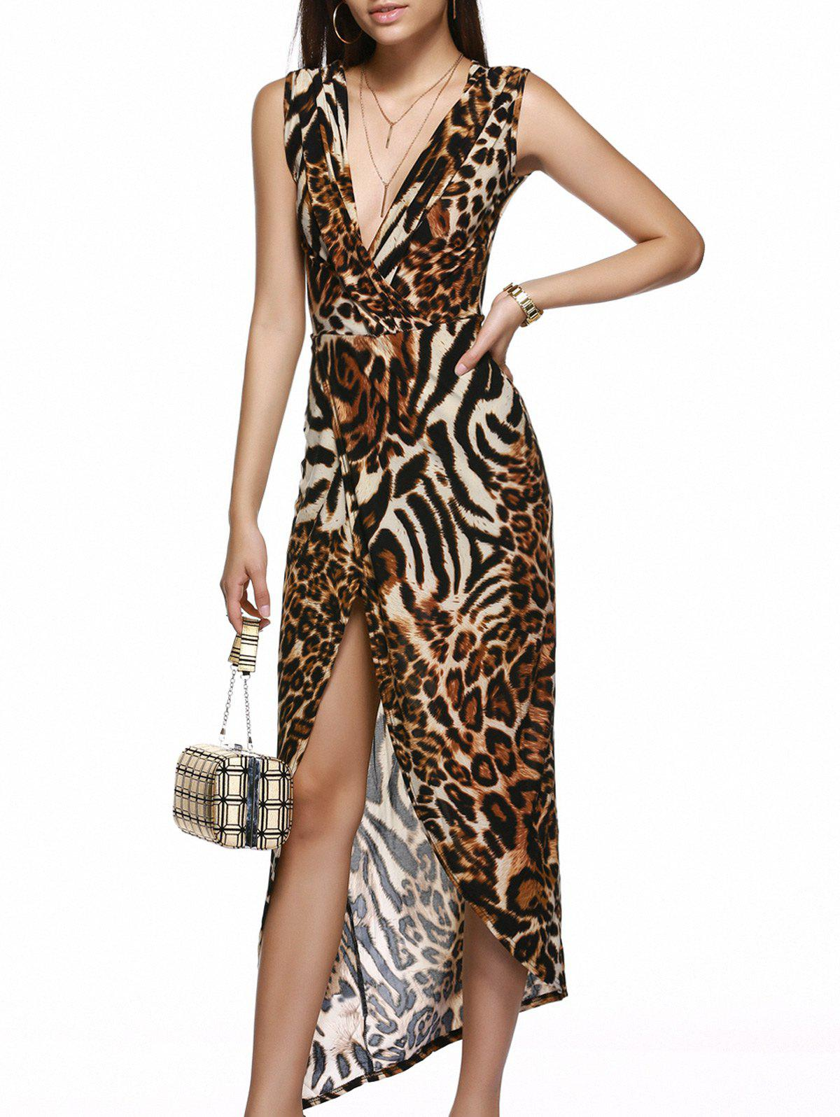 Asymmetric Low Cut High Slit Cheetah Print Dress - LEOPARD XL