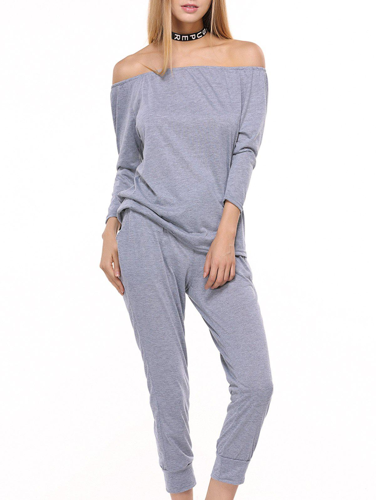 Sporty Off The Shoulder Top et Drawstring Jogger Pants - gris L