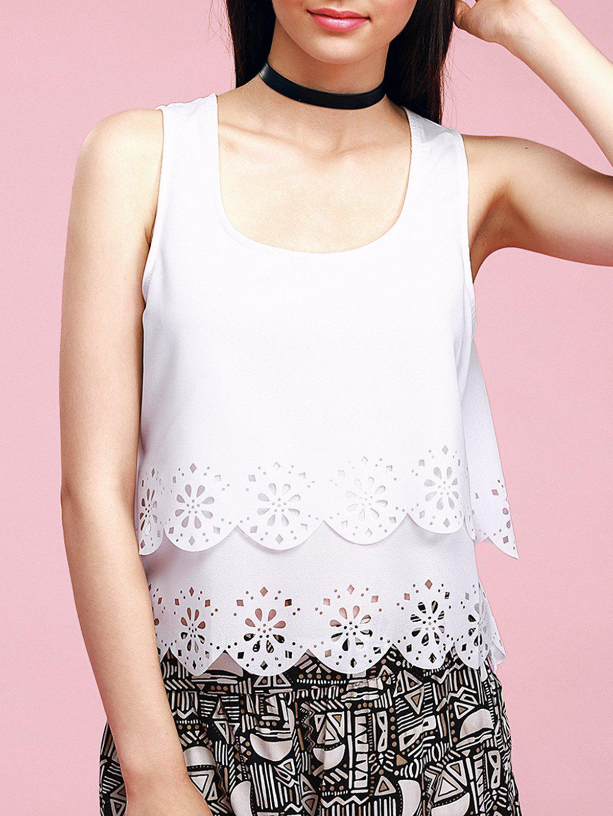 Trendy U-Neck Hollow Out Scalloped Backless Women's Tank Top - WHITE XL