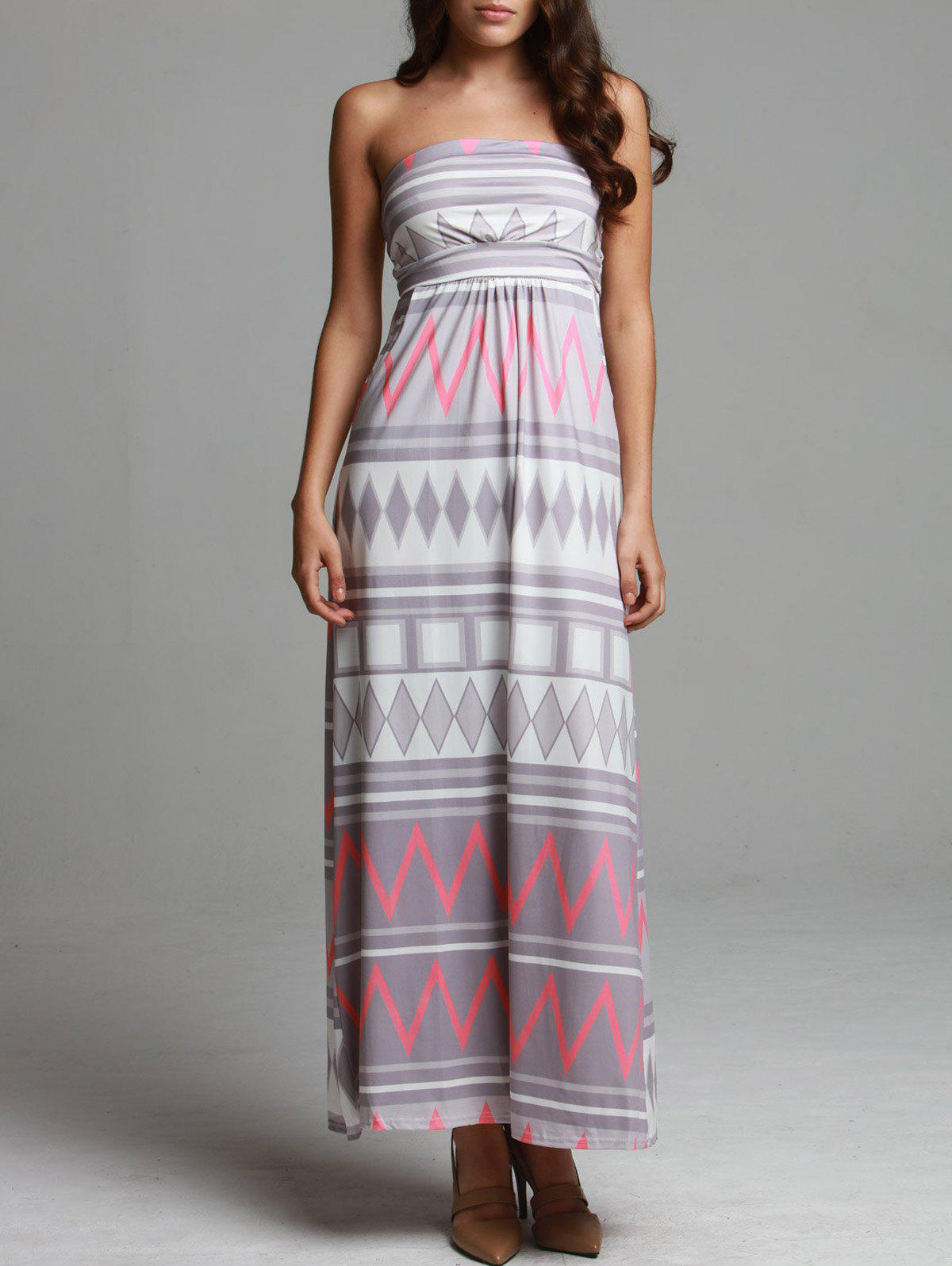 Maxi Geometric Print Strapless Bohemian Beach Dress - COLORMIX XL