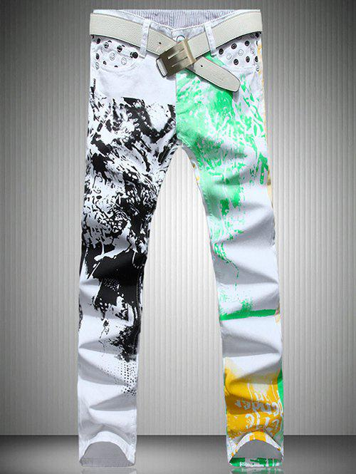 Men's White Color Printed Straight Leg Jeans - WHITE 40