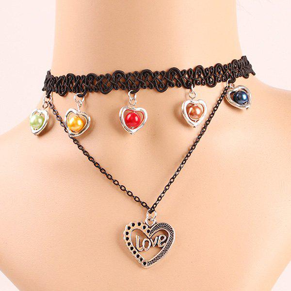 Bohemia Women's Faux Pearl Love Heart Necklace