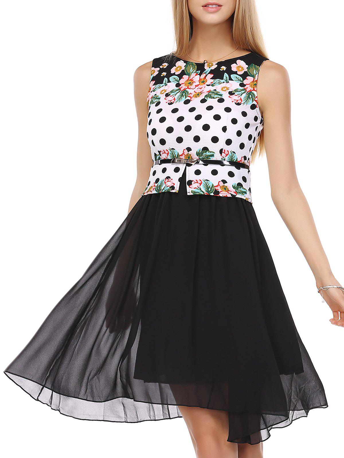 False Two Pieces Polka Dot Floral Pattern Tie Belt Dress - WHITE/BLACK 4XL