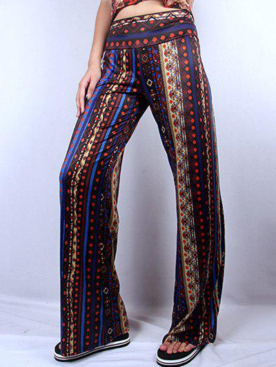 Wide Leg Ethic Print Pants - COLORMIX 2XL