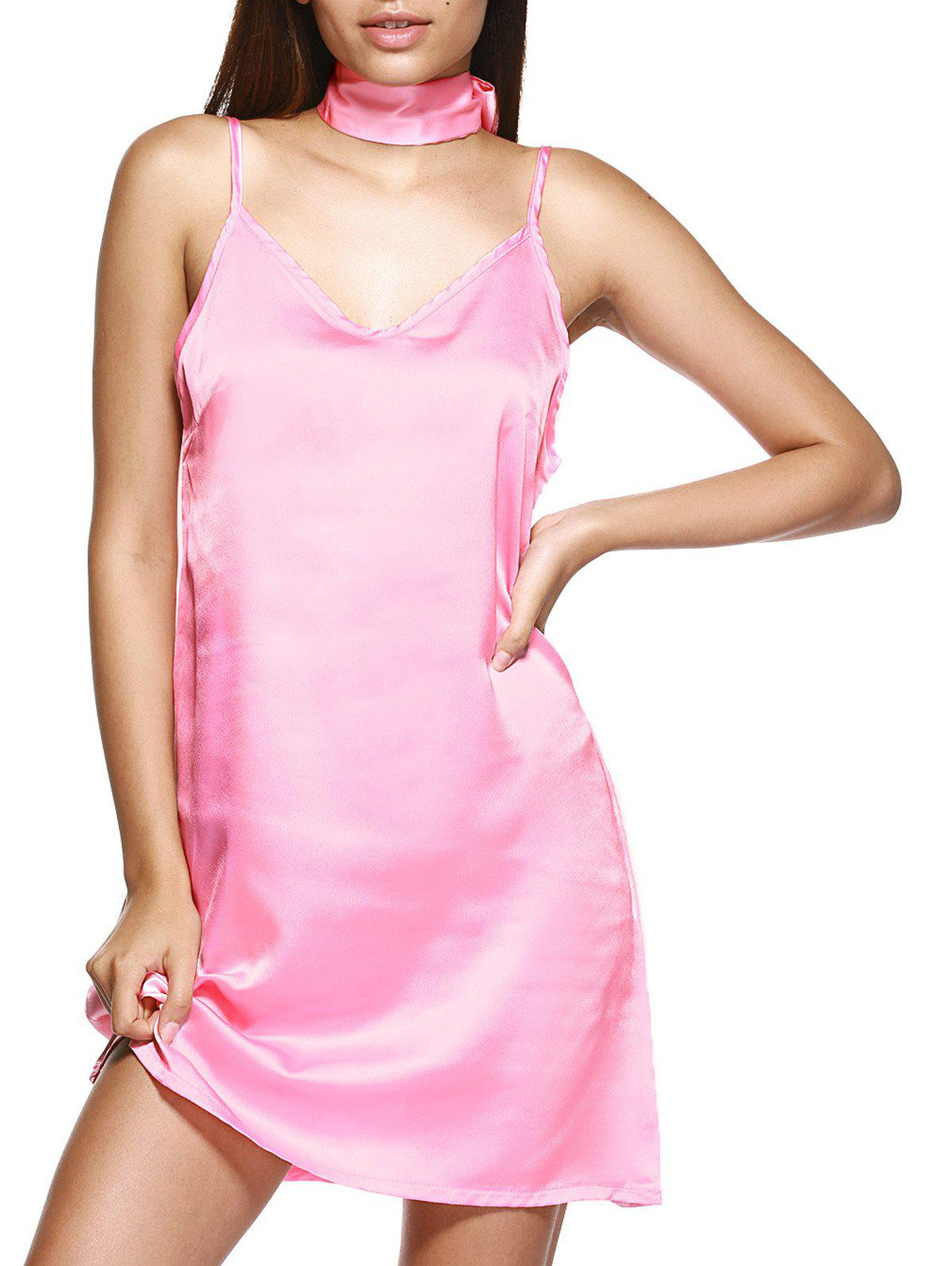 V Neck Mini Cami Slip Satin Dress - LIGHT PINK XL