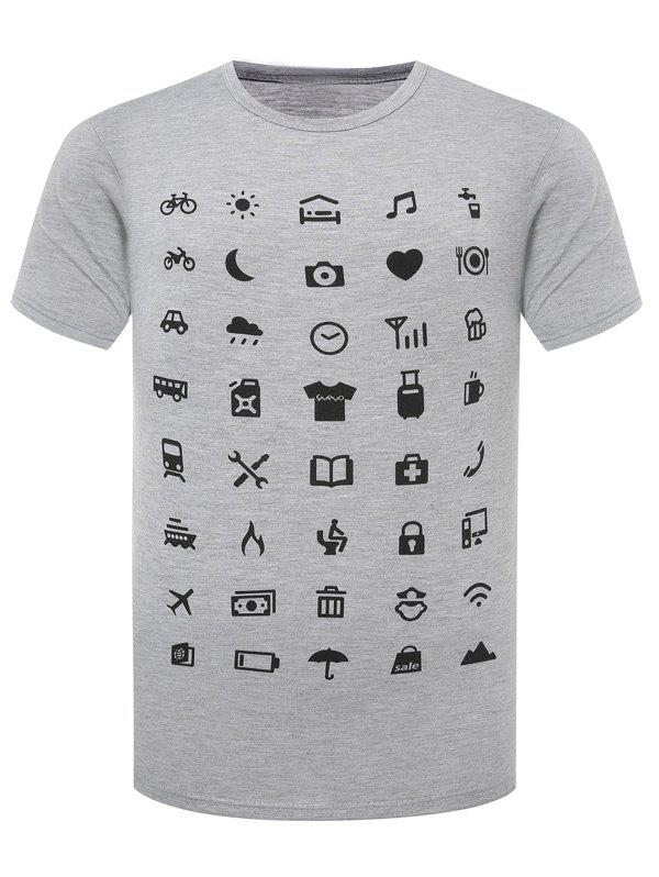 Funny Icon Pattern Printing Men's Round Neck Short Sleeves T-Shirt 188171317