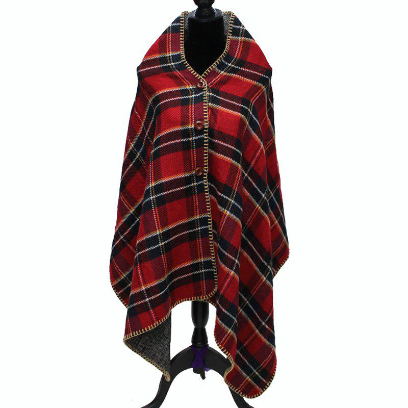 Fashion Women's Buttons Plaid Hooded Batwing Blanket Shawl Poncho Cape Scarf