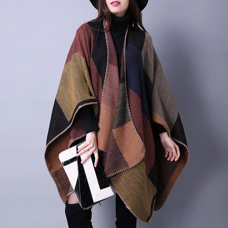 Street Fashion Women's Open Front Plaid Oversized Blanket Wrap Shawl Poncho Cape - KHAKI ONE SIZE(FIT SIZE L TO 3XL)
