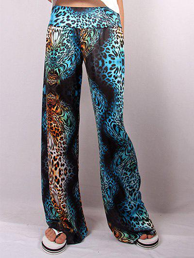 Hit Color Illusion Cheetah Print Wide Leg Pants - LEOPARD 2XL