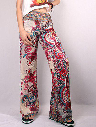 Hit Color Ethnic Floral Print Wide Leg Pants - COLORMIX XL