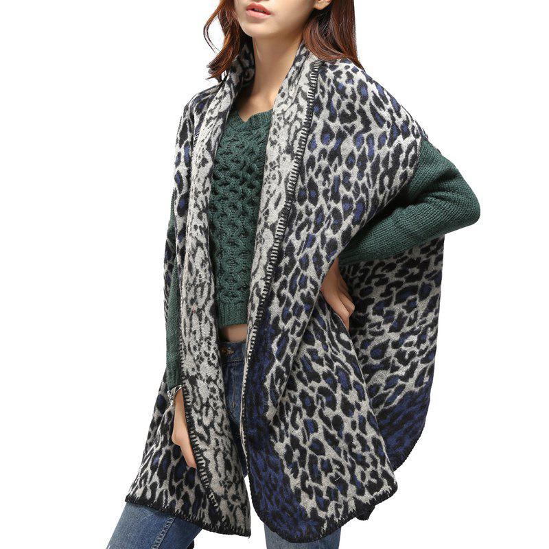 Stylish Women's Open Front Leopard Shawl Wrap Warm Poncho Pashmina - BLUE ONE SIZE(FIT SIZE L TO 3XL)