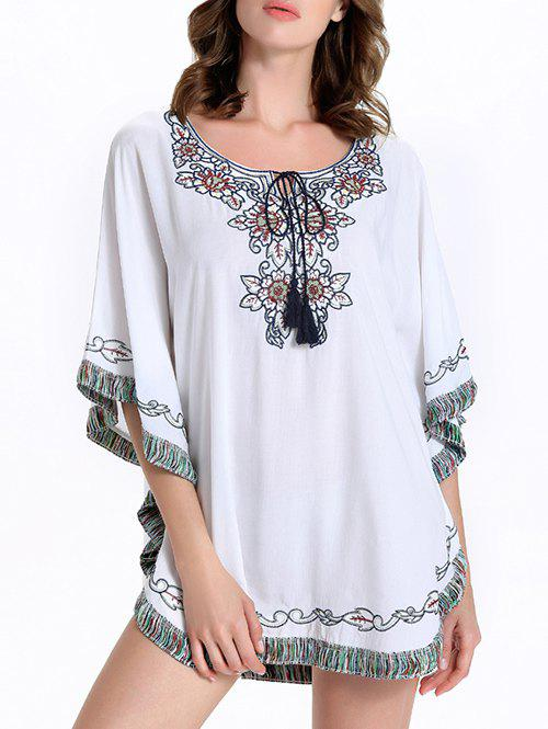Stylish Batwing Sleeve Tassel Floral Embroidered Women's Dress - WHITE 2XL