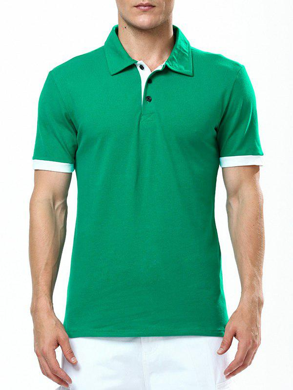 Refreshing Turn-down Collar Purfled Fitted Men's Short Sleeves T Shirt - GREEN 2XL