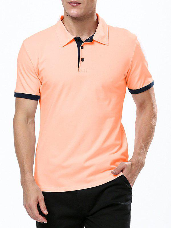 Refreshing Turn-down Collar Purfled Fitted Men's Short Sleeves T Shirt - ORANGE M