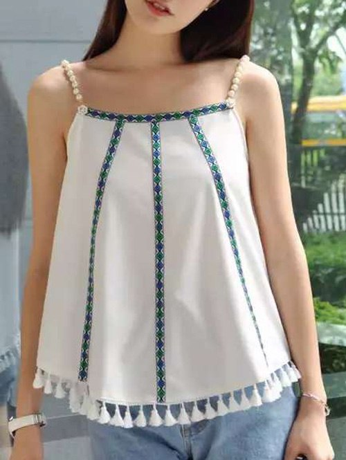 Stylish Women's Tassel Trim Pearl Embellished Cami Top  - WHITE ONE SIZE(FIT SIZE XS TO M)