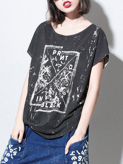 Fashionable Short Sleeve Splash Letter Print Womens T-ShirtWomen<br><br><br>Size: ONE SIZE(FIT SIZE XS TO M)<br>Color: WHITE AND BLACK