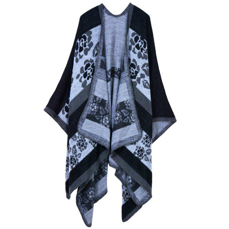 Stylish Women's Open Front Flower Pattern Shawl Wrap Warm Poncho Cape - BLACK ONE SIZE(FIT SIZE L TO 3XL)