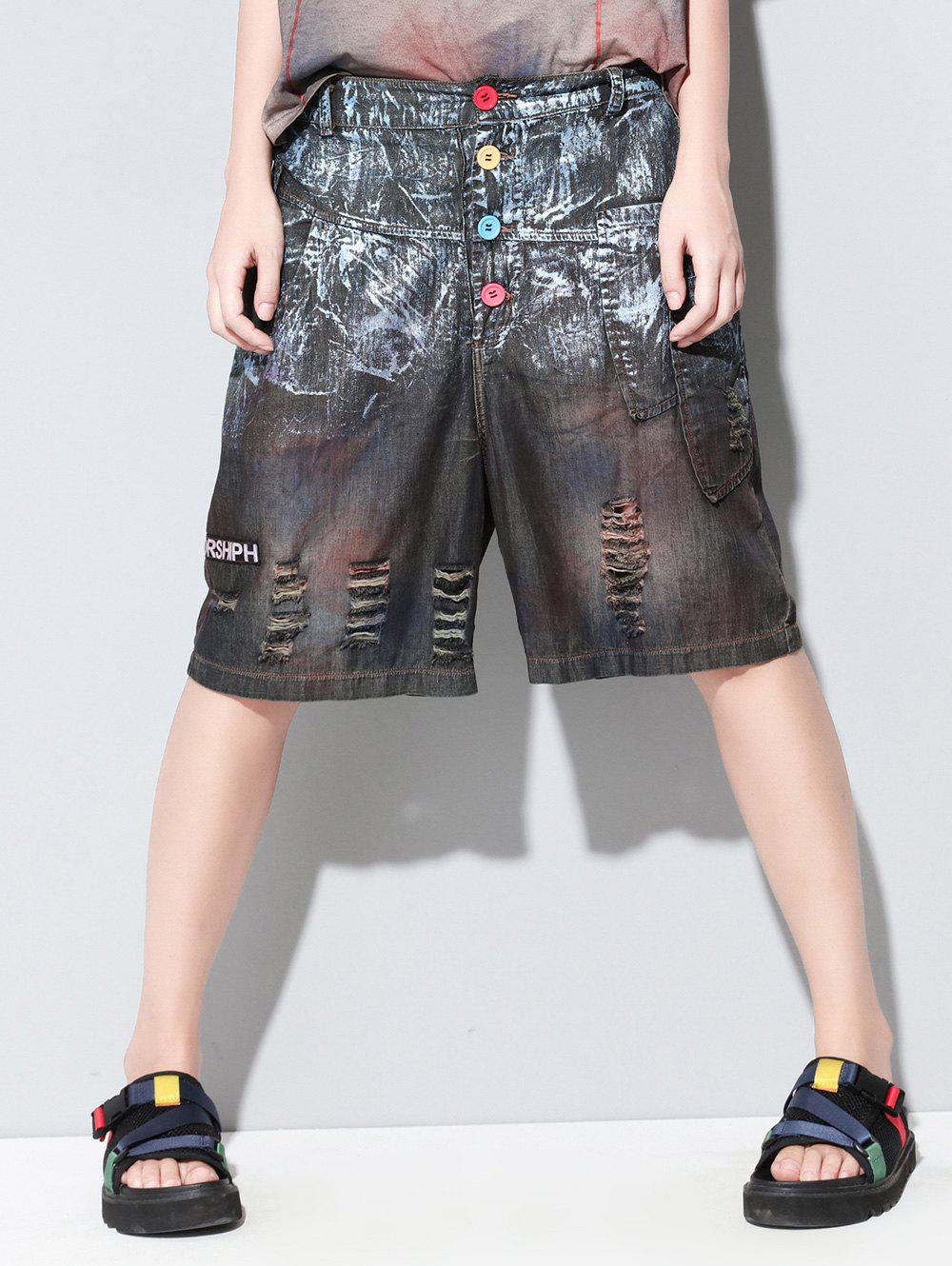 Fashionable Broken Hole Buttoned Pocket Design Womens Cropped PantsWomen<br><br><br>Size: ONE SIZE(FIT SIZE XS TO M)<br>Color: COLORMIX