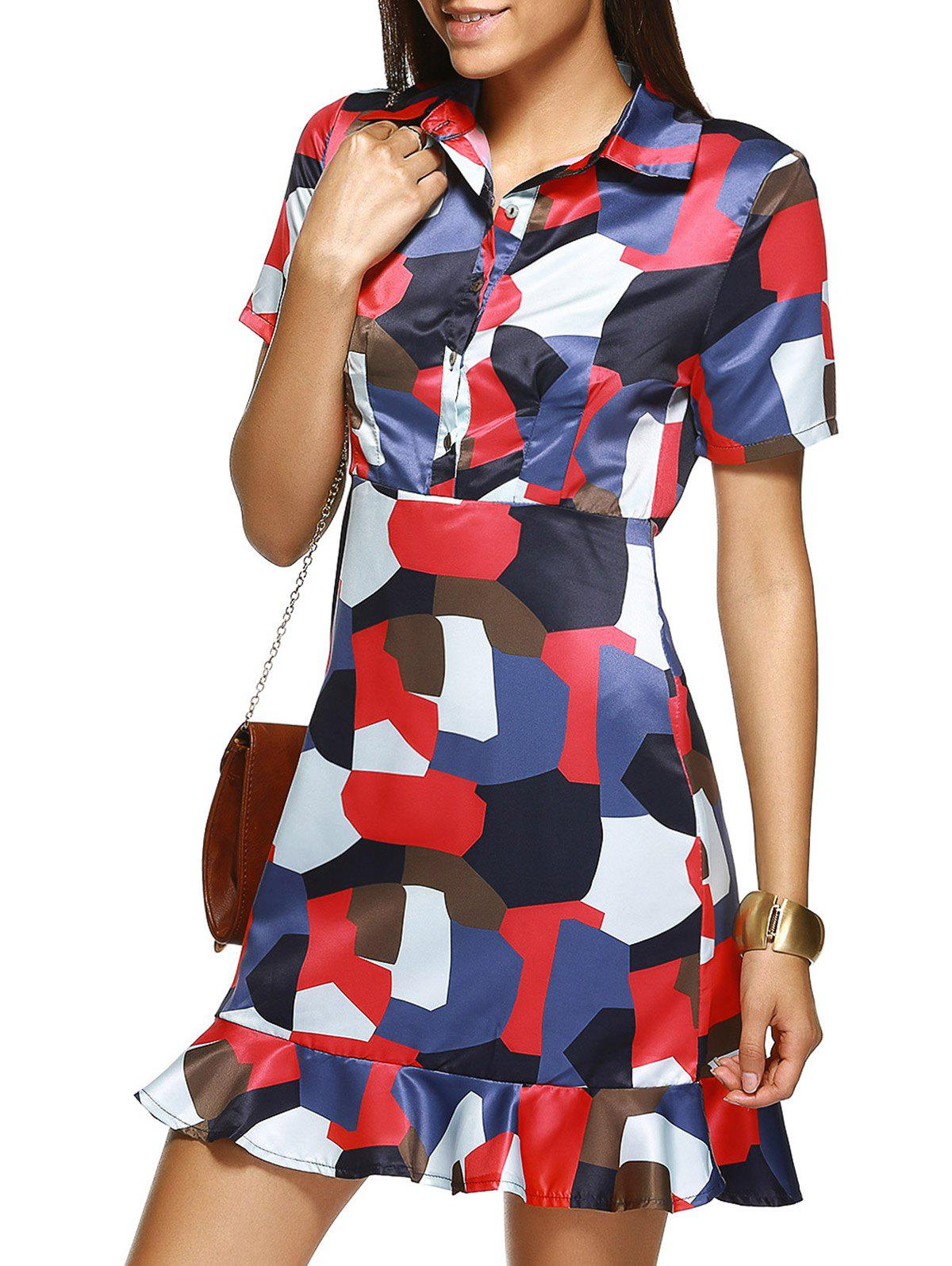 Shirt Collar Flounced Graphic Dress - COLORMIX L