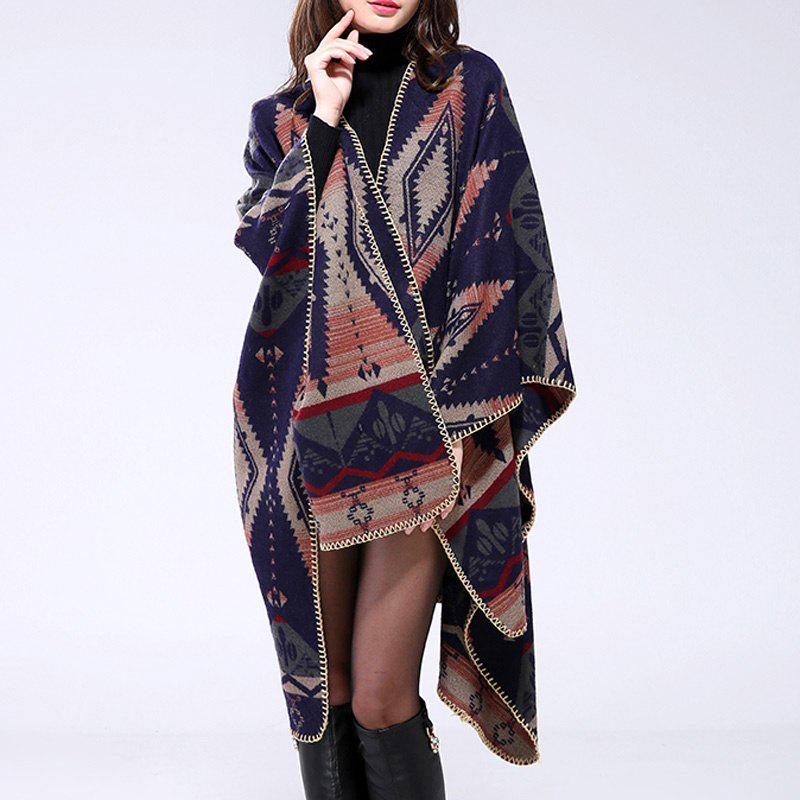 Bohemian Style Open Front Rhombus Pattern Oversized Blanket Women's Poncho Cape - CADETBLUE ONE SIZE(FIT SIZE L TO 3XL)