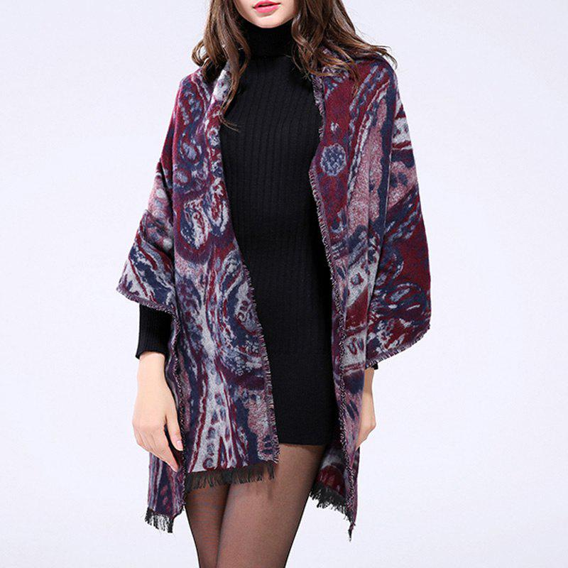 Bohemian Style Big Paisley Printed Fringed Edge Shawl Wrap Women's Pashmina - WINE RED ONE SIZE(FIT SIZE L TO 3XL)